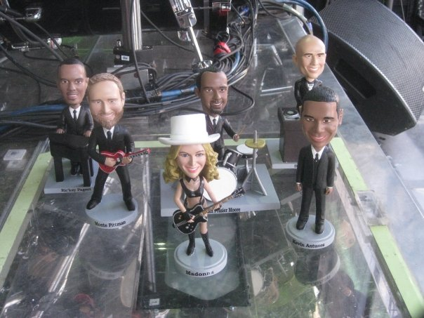 Our end-of-tour gift to Madonna...bobbleheads of the fellas..and her too, of course.