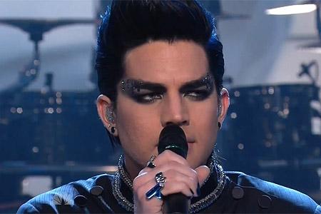 Adam Lambert performing on the Tonight Show