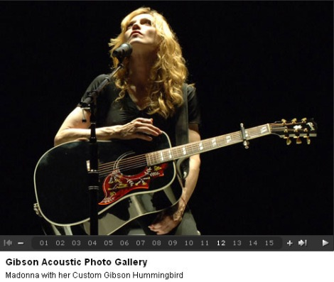 Madonna & her Gibson Hummingbird custom shop